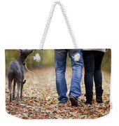 Couple And Dog Autumn Or Fall Weekender Tote Bag