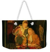 Couple Counting Money By Candlelight, 1779 Panel Weekender Tote Bag