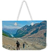 Couple Hiking On Plain Of Six Glaciers Trail  In Banff Np-albert Weekender Tote Bag