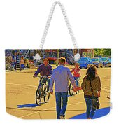 Couples Summer In The City Walking Biking Strolling With Baby Carriage Art Of Montreal Street Scene Weekender Tote Bag