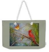 Courting Cardinals, Birds Weekender Tote Bag