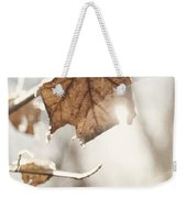 Covered With Ice Maple Leafe On A Sunny Day Weekender Tote Bag