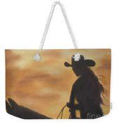 Cow Girl At Sunset Weekender Tote Bag
