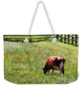 Cow Grazing In Pasture Weekender Tote Bag
