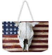 Cow Skull On Folk Art American Flag Weekender Tote Bag by Garry Gay