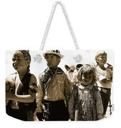 Cowboy And Indian Armory Park Tucson Arizona Black And White Toned Weekender Tote Bag