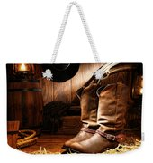 Cowboy Boots In A Ranch Barn Weekender Tote Bag by Olivier Le Queinec