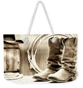 Cowboy Boots Outside Saloon Weekender Tote Bag by Olivier Le Queinec