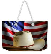 Cowboy Hat And American Flag Weekender Tote Bag