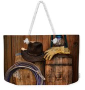 Cowboy Hat And Bronco Riding Gloves Weekender Tote Bag by Paul Ward