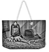 Cowboy Hat And Rodeo Lasso In A Black And White Weekender Tote Bag by Paul Ward