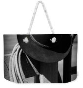 Cowboy Hat On Fence Post In Black And White Weekender Tote Bag