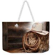 Cowboy Hat On Hay Bale Weekender Tote Bag