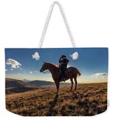 Cowboy Looks Out Over Historic Last Weekender Tote Bag