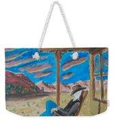 Cowboy Sitting In Chair At Sundown Weekender Tote Bag