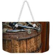 Cowboy Spurs On Wooden Barrel Weekender Tote Bag