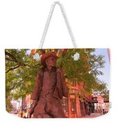 Cowboy Statue In Front Of The Brown Palace Hotel In Denver Weekender Tote Bag