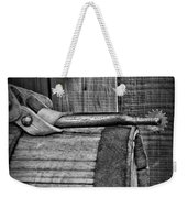 Cowboy Themed Wood Barrel And Spur In Black And White Weekender Tote Bag