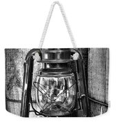 Cowboy Themed Wood Barrels And Lantern In Black And White Weekender Tote Bag
