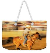 Cowboys Ride And Rope Cattle During San Weekender Tote Bag