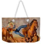 Cowgirl Steer Wrestling Weekender Tote Bag