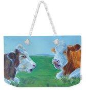 Cows Lying Down Chatting Weekender Tote Bag