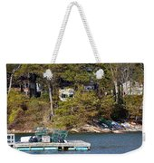 Crab Traps On Boat Near Shore Portland Weekender Tote Bag