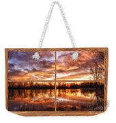 Crane Hollow Sunrise Barn Wood Picture Window Frame View Weekender Tote Bag