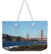 Crashing Waves And The Golden Gate Bridge Weekender Tote Bag by Linda Woods