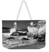 Crashing Waves Bw Weekender Tote Bag