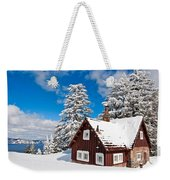 Crater Lake Home - Crater Lake Covered In Snow In The Winter. Weekender Tote Bag
