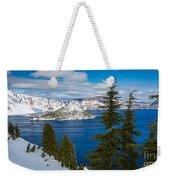 Crater Lake Winter Panorama Weekender Tote Bag