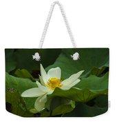 Cream Colored Lotus Weekender Tote Bag