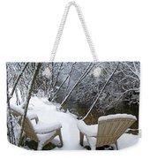Creekside Chairs In The Snow 2 Weekender Tote Bag