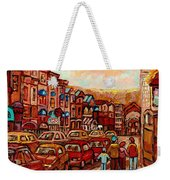Crescent Street Family Stroll  Montreal City In Autumn City Scene Paintings Carole Spandau Weekender Tote Bag