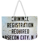 Criminal Registration Required Absecon City Nj Weekender Tote Bag