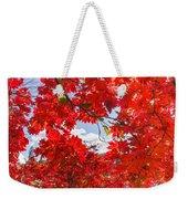 Crimson Red Leaves Background Weekender Tote Bag