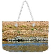 Crocodile In Watering Hole In Kruger National Park-south Africa Weekender Tote Bag