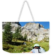 Cropped Rear View Of A Female Hiker Weekender Tote Bag