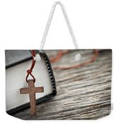 Cross And Bible Weekender Tote Bag