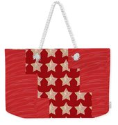 Cross Through Sparkle Stars On Red Silken Base Weekender Tote Bag by Navin Joshi