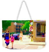 Crossing Notre Dame At Charlevoix To Dilallo Burger Montreal Summer City Scene Carole Spandau Weekender Tote Bag
