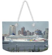Cruise Ship On The Hudson Weekender Tote Bag