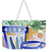 Cups And Flowers-  Watercolor Floral Painting Weekender Tote Bag by Linda Woods