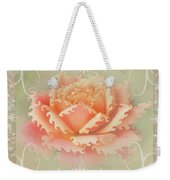 Curlyicue Peach Rose With Flourshis   Square Weekender Tote Bag