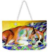 Cute Boxer Dog Portrait Painting Weekender Tote Bag by Svetlana Novikova