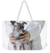 Cute Little Dog At The Vet Weekender Tote Bag