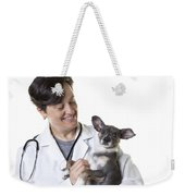 Cute Little Puppy With Vet Weekender Tote Bag