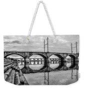 Cv - Susquehanna River Bridge Harrisburg  Pennsylvania In Black  Weekender Tote Bag