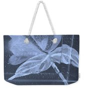 Cyan Negative Wood Flower Weekender Tote Bag